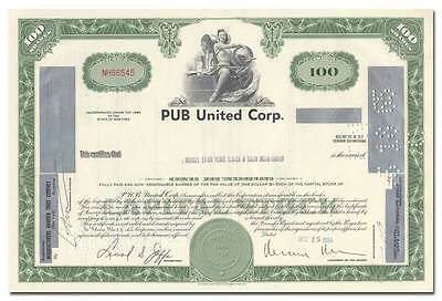 PUB United Corporation Stock Certificate (Pepsi United Bottlers, Rheingold)