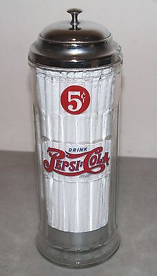 Nice!! PEPSI COLA 5 Cent Glass STRAW DISPENSER /The 1800's Company Riverside, Ca