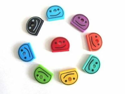 1 - 100 Smiley Coloured Key Caps Assorted Top Key Covers Head ID Tag Cap Keyring