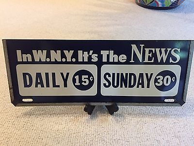Metal Advertising Sign from Buffalo NY Newspaper Rack, 17 X 6½, 1940s-50's