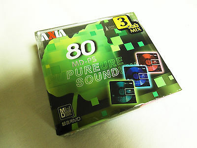MD 3er Pack AXIA MD-PS puresound 80 OVP Neu Top Minidisc Japan