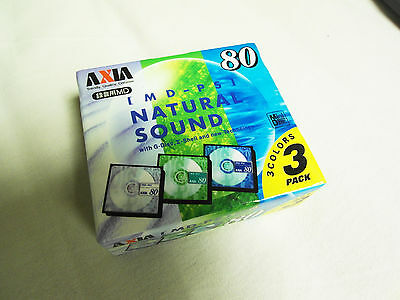 MD 3er Pack AXIA MD-PS Natural Sound 80 OVP Minidisc Japan TOP!!