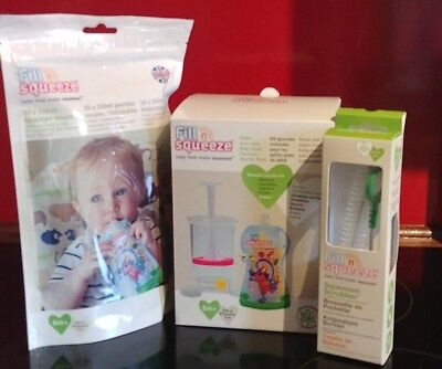 Fill 'n' squeeze starter kit, 10 pouches and scrubber.