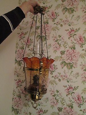 Victorian Amber Hanging rise and fall Oil Lamp not cranberry christmas gift