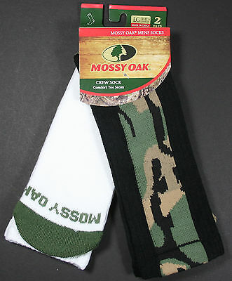 Mens MOSSY OAK Camouflage Crew Socks - 2-Pack - Camo & White - Shoe Size 9-12.5