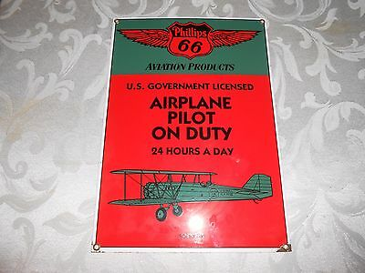 Andy Rooney Phillips 66 'airplane Pilot On Duty' Aviation Porcelain Sign