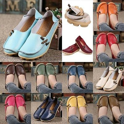 Womens Leather Shoes Loafers Driving Peas Walking Moccasin Flat Casual Comfort