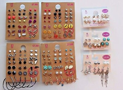 Lot of 102 Pairs of Studs Hoops  and Dangle Earrings Hypo Allergenic New - Lot H