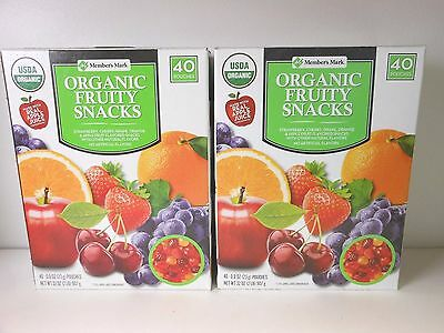 2 Member's Mark Organic Fruity Snacks 40 Count Each = 80 Total