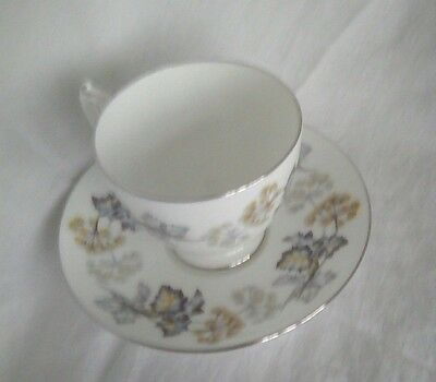 Vintage Coalport Camelot pattern tea cup & saucer with silver trim china