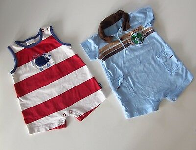 CARTER'S Baby Boy 6M Cute Two Red White Striped & Blue Romper One Piece