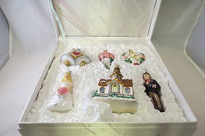 Old World Christmas Wedding Collection Six Ornament Box Set Blown Glass in box