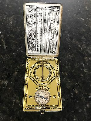 Vintage Sunwatch Pocket Compass & Sundial by Ansonia Watch Co., Inc. 1920s