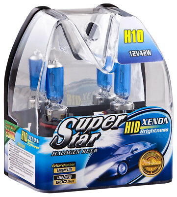 H10 Birnen Xenon Optik Halogenlampen 8500K Super Weiss 12 Volt 42 Watt SuperStar