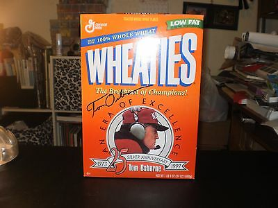 Wheaties An Era Of Excellence Tom Osborne Autographed Cereal Box 1973-1997