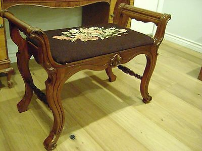 French Antique Needlepoint Bench Vanity Seat Local Pick up Only 91205