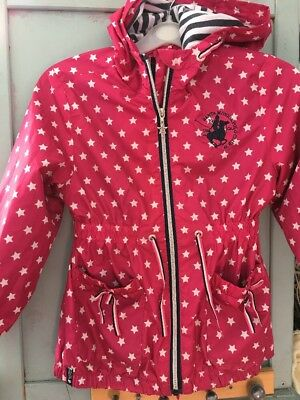 Girls Designer Raincoat 6 -7 Years Pink Stars Santa Monica Polo Club Excellent