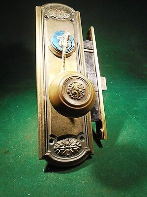 1920 RUSSWIN ENTRY MORTISE LOCK: COMPLETE w/PLATES, CYLINDER & KEYS  NICE (9137)