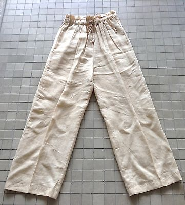 Vintage CHRIS KELLOG Palm Beach Beige 100% Linen Draw String Elastic Waist Pants