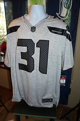 Kam Chancellor Seattle Seahawks Authentic Nike Grey Black NFL Jersey Size Lg 99055a1f3