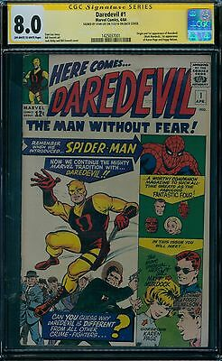 Daredevil 1 CGC 8.0  1st Daredevil  Stan Lee Signature Series     ow/w pages!