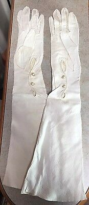 Vintage Mid Century Pair White Long Kid Gloves Pearl Fastening Bridal Wedding