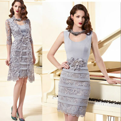 Lace Mother Of The Bride Dresses Formal Women Prom Evening Sheath Gown Free coat