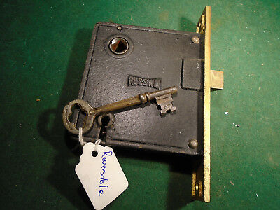 """VINTAGE RUSSWIN MORTISE LOCK w/ KEY - 5 1/2"""" faceplate: RECONDITIONED! (9448-1)"""