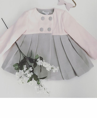 Baby Girls Pink & Grey Coat - Smart Traditional Spanish Style - Autumn Winter