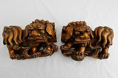 Antique Wooden Gilt Foo Dog Wall Sconce Male & Female