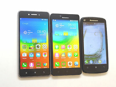Lot of 3 Lenovo Dual Sims GSM Unlocked Smartphones All Power On Good LCD AS-IS