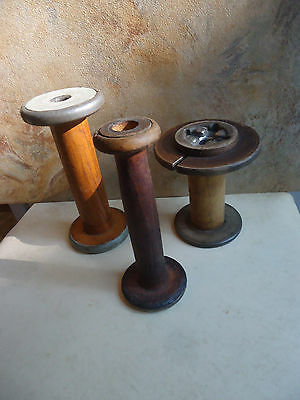 "Antique Wooden Spools (3) Textile 7"", 7"" & 5"" No Markings"