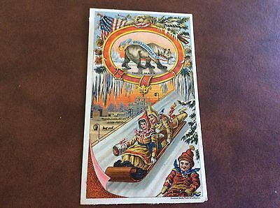Wales Goodyear Co. Bear Brand Rubber Shoes Antique Victorian Trade Card Toboggan