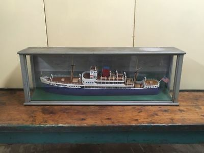 Vintage NAMED Ship Model In Case ACONCAGUA later KHEDIVE ISMAIL Sunk WWII