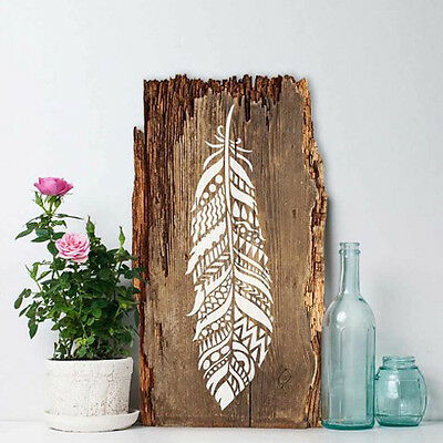 Tribal Feather Wall Art Stencil - DIY Home Decor - Reusable Stencils