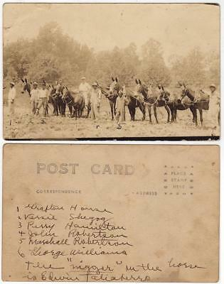 RPPC of a White Landowner and Five African-American Mule-drivers