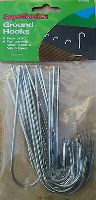 ** CLEARANCE** METAL GROUND GARDEN HOOKS MEMBRANE  FABRIC PINS STAPLES  x 20