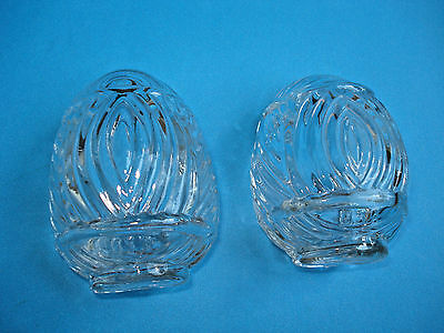 2 Vintage Ribbed CLEAR GLASS Bird Cage Feeder Seed Water Cup Ribbed USA