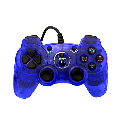 Old Skool Dual Analog Double-Shock 2 Wired Controller for PlayStation 2 PS2 Blue