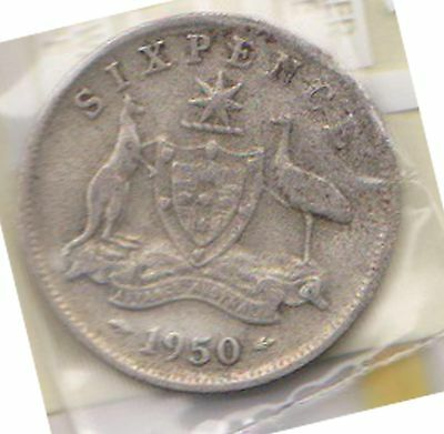 (H69-8) 1950 AU 6 pence 50% sterling silver coin (H)