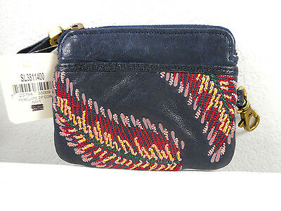 NWT - FOSSIL - Blue Leather Coin Purse, Wallet w/ Feather Embroidery