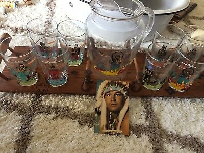 8 clear Acee Blue Eagle glasses, pitcher and stand. Knox Oil-Indian Art