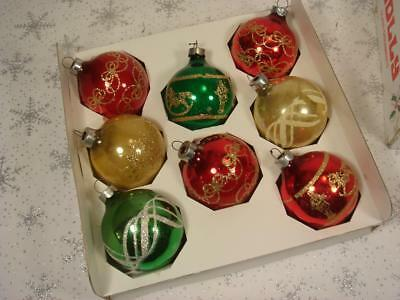 Vintage Lot 8 Holly Gold Glitter Stencil American Made Christmas Ornaments & Box