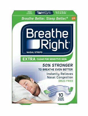 Breathe Right Extra Nasal Strips, Clear Color Strips for Sensitive Skin