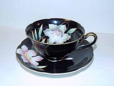 Antique Uoagco Black Floral China Tea Cup and Saucer Made in Japan