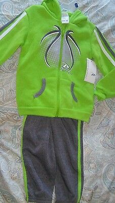 NEW NWT Boy's / Girl's Green & Gray 2 Piece Sports Hoodie Jacket & Pants 4 T