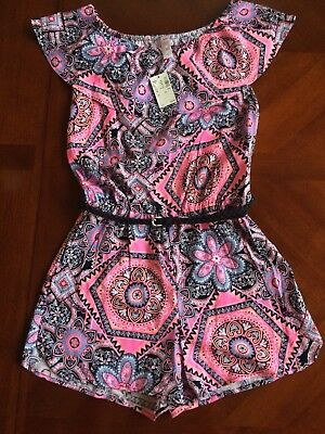 NEW Justice Romper Outfit Girls Pink Off-the-shoulder belted Sz 14