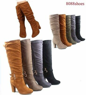 Women's Fashion Zipper Chunky Heel Mid Calf Knee High Boots Size 5.5 - 10 NEW