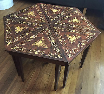 Set of 6 NOTTURNO INTARSIO Sorrento Italy INLAID Wood Triangle Jewelry Tables