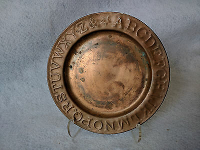 "Antique Vintage Handmade 6"" Alphabet Plate Copper Signed by Artisan '89"